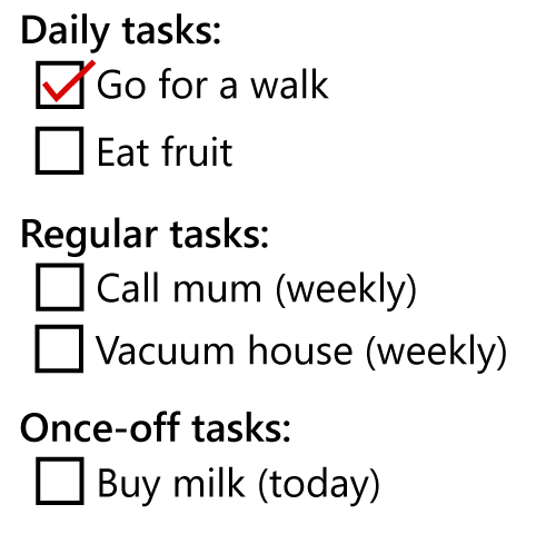 Generic list of tasks shown above, but categorised