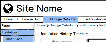 A rough Balsamiq mockup based on the existing site template