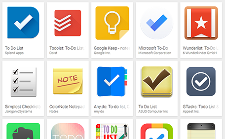 A screenshot of the many task list apps available in the Google app store.